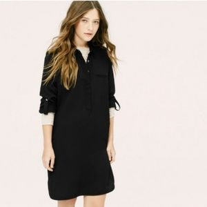 Lou & Grey Black Tunic Shirt Dress Roll Tab Sleeve